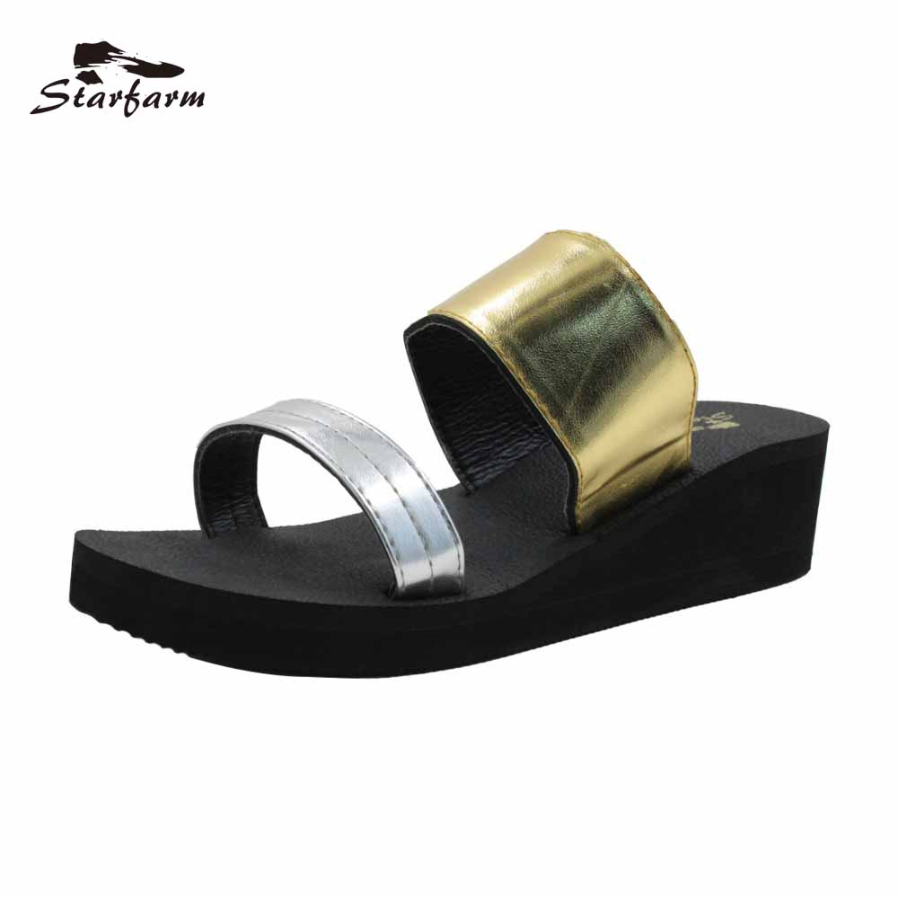 STARFARM Women's Summer Sandals in Gold and Silver Wedge Heel Slides Casual Shoes Sandale Femme Ete high quantity medicine detection type blood and marrow test slides
