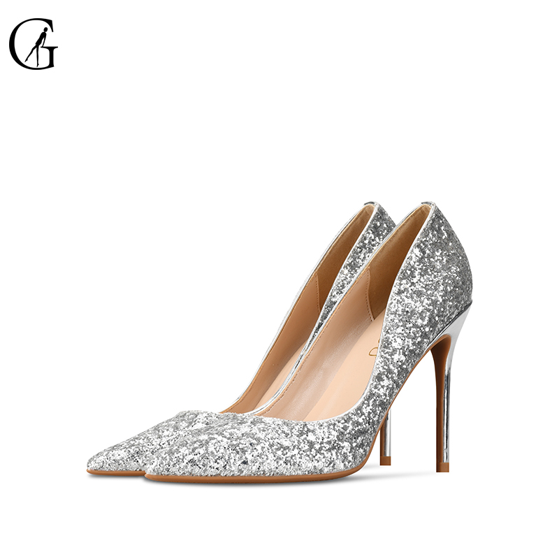 GOXEOU 2019 Women Pumps size 32 46 Thin Heel High Heels Sexy Pointed Toe Slip On Bling Wedding Office Handmade  Free Shipping-in Women's Pumps from Shoes    1