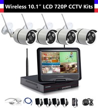 4CH 720P Wireless NVR 10.1 inch LCD Monitor with 4pcs 720P WiFi IR Night Vision Camera Home Security CCTV Surveillance Systems