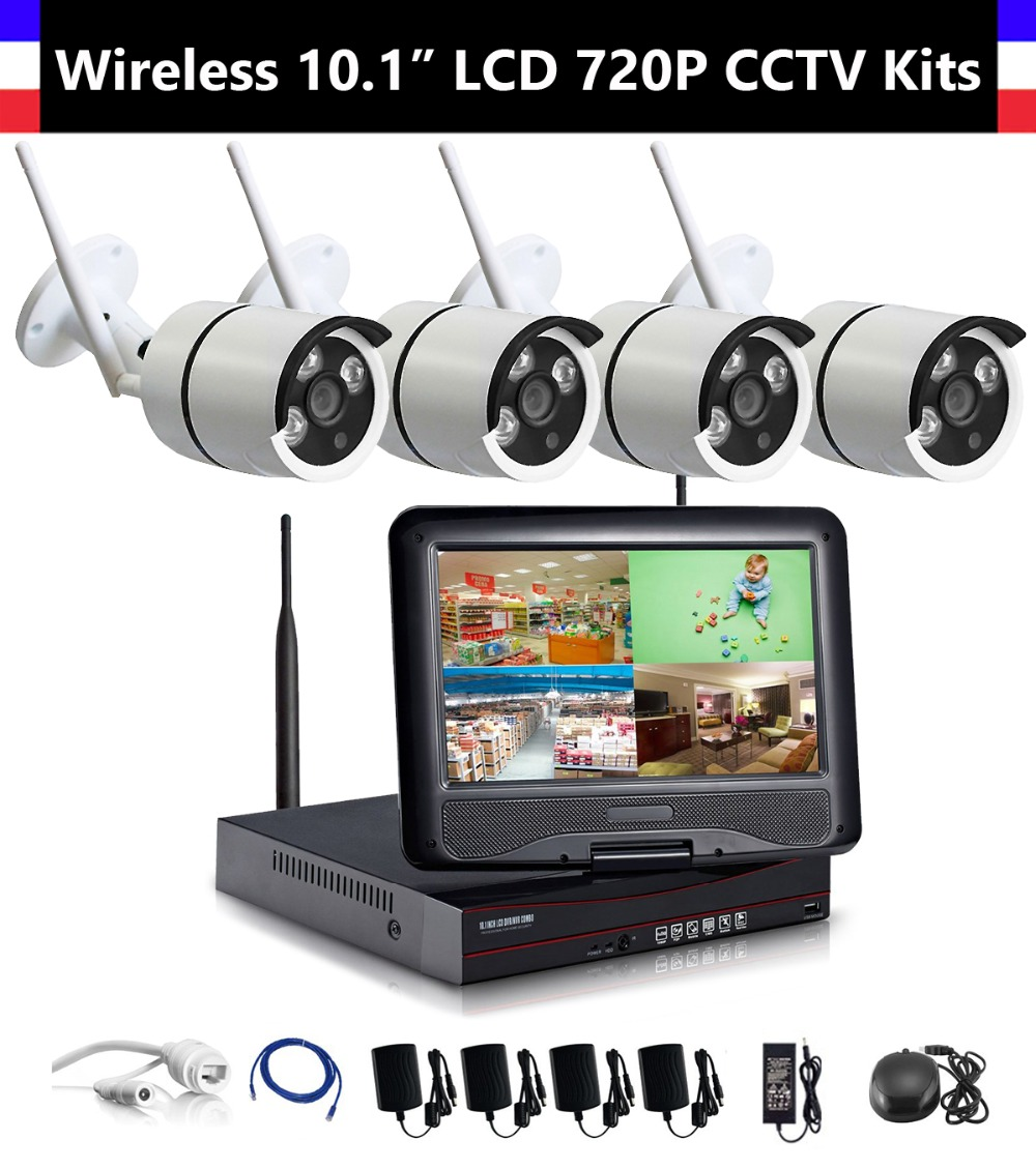 4CH 720P Wireless NVR 10 1 inch LCD Monitor with 4pcs 720P WiFi IR font b