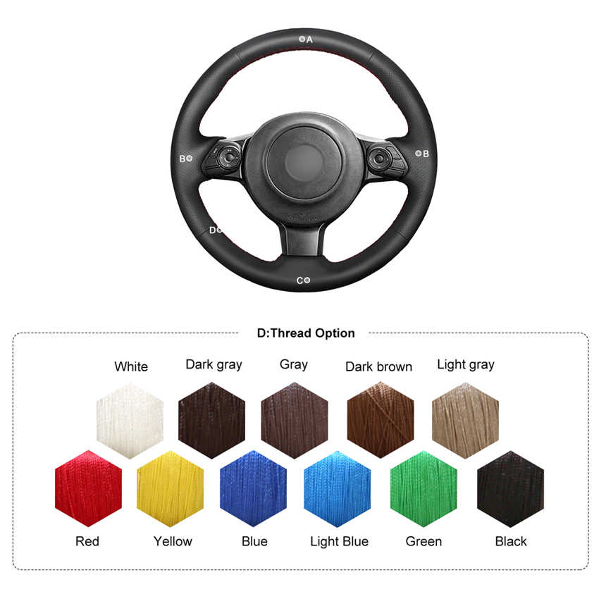 GT86 WOLDce Black Suede Hand Sew Car Steering Wheel Cover 2016-2020 Subaru BRZ 2016 2017 2018 2019-2020 Fit for Toyota 86