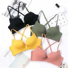 Sexy Seamless Lingerie Underwear Women Kawaii Cat Ears Bra Wire Free Bralette Push Up Candy Color
