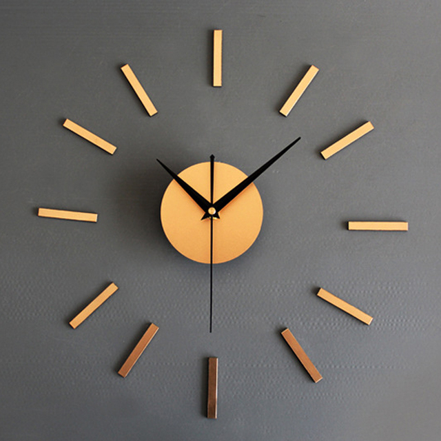 Metallic DIY Wall Clock Modern Design For Living Room Clocks Vintage Retro Style  Wall Watch 3D