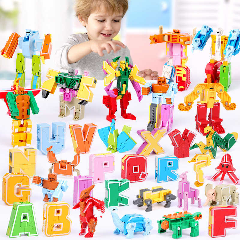 Gudi 26 English Letter Transformer Alphabet Robot Animal Creative Educational Action Figure Building Blocks Model Bricks Toys