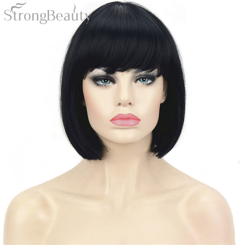 StrongBeauty 10 inch Lady Black Bob Wigs Synthetic Short Straight Cosplay Wig For Women