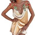Женщины Золото Dress Sexy Красивые Вышитые Цветы На Плечо Рукавов Лето Dress Глубокий V Шеи Backless Платья Для Женщин