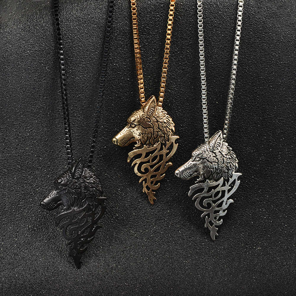 Wolf Head Shape Alloy Pendant necklace men Fashion Jewelry Gift Necklace collar muje