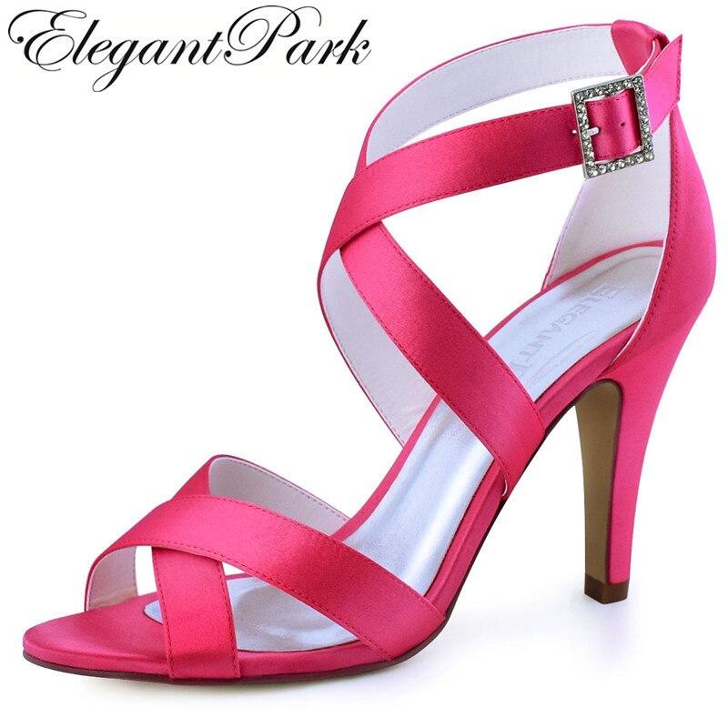 Summer Sandals Woman High heel Hot Pink Peep Toe Cross Strap Buckle Satin Prom Dress Wedding