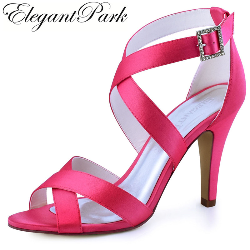 Summer Sandals Woman High heel Hot Pink Peep Toe Cross Strap Buckle Satin Prom Dress Wedding Bridal Shoes Ivory Black HP1705 free shipping ep2107 ivory women s open toe stiletto high heel satin flowers pearls bridal wedding sandals