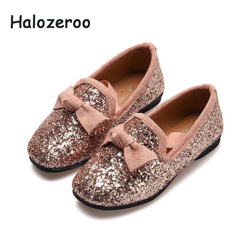 2019 ฤดูใบไม้ร่วงใหม่เด็กหญิงรองเท้าเด็ก Glitter รองเท้าเด็กสีชมพูยี่ห้อ Loafer รองเท้าโรงเรียนแฟชั่น Moccasin