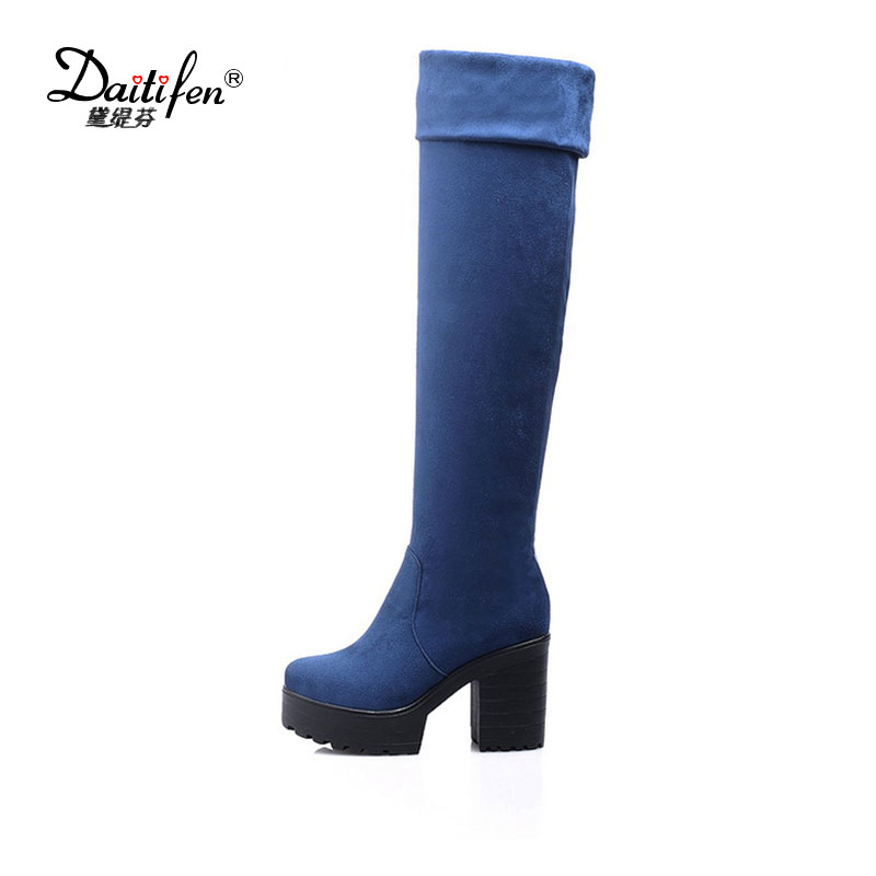 Daitifen Faux Suede Slim Boots Sexy over the knee high women snow boots women's fashion winter thigh boots shoes woman nayiduyun new fashion thigh high boots women faux suede point toe over knee boots stretchy slim leg high heels pumps plus size