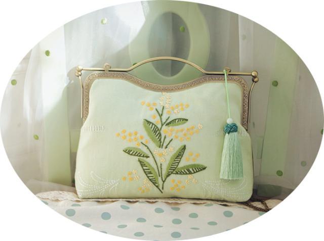Genius Handmade Day Clutch Embroidery Women Clutch Floral Embroidered Women Handbag Flower Handmade Bag Tassel Yellow Green