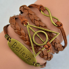 Multi cord leather bronze plated Infinity 8 harry potter charms multilayer believe bracelet