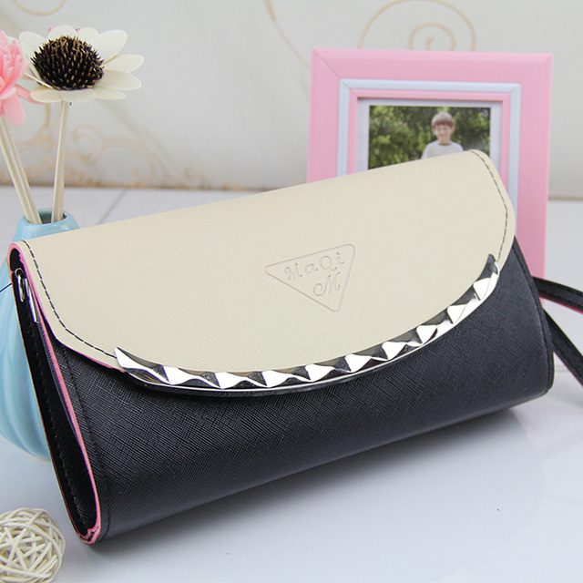 514e8a85a4ff Women Handbag Solid Patchwork Lady Day Clutches Popular Stitching Soft Girl  Zipper Packet Fashion Brief Shopping