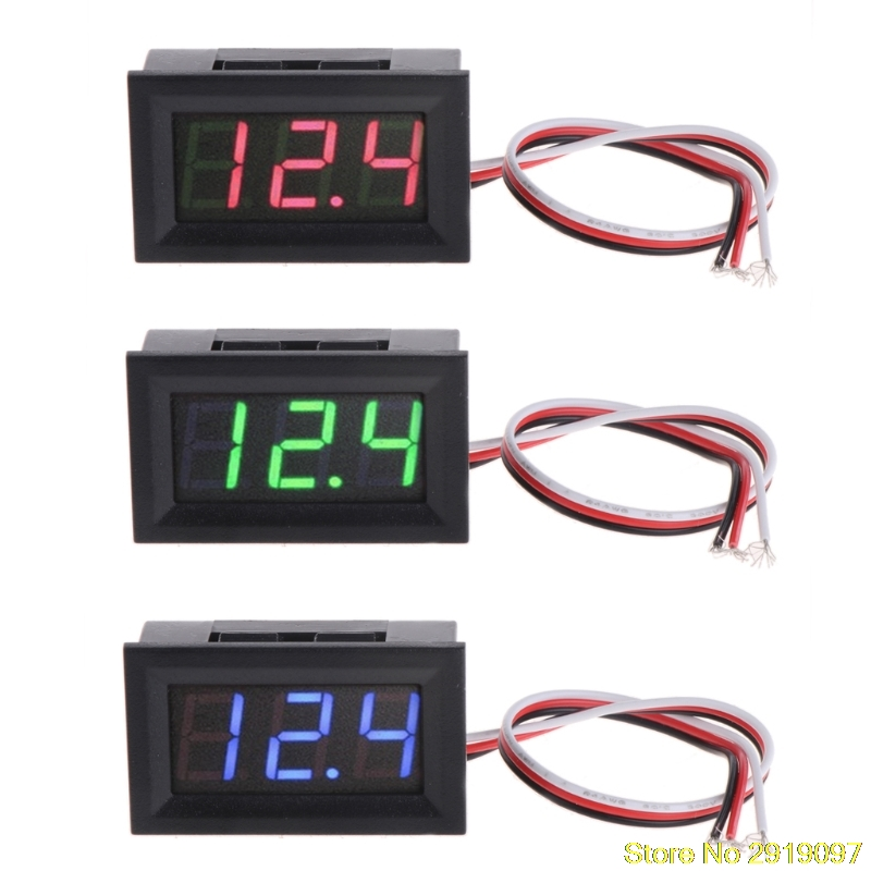 Mini Voltmeter Tester Digital Voltage Test Battery DC 0-30V Red/Blue/Green Auto Car dc 2 4v 30v 2wires voltmeter mini 0 36 digital voltage gauge meter for auto car