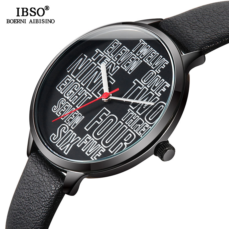 IBSO Women's Quartz Watches Original Nummber Design Genuine Leather Strap Ladies Quartz Watch Hours Montre Femme Clock