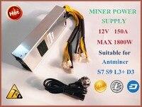 BTC Miner Power Supply 1800W S9 S7 S5 S4 S4 12V Power Supply 1800w AP188c PSU