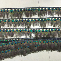 EMS free shipping! 8 12 cm / 4 5 inch 100 yards natural peacock eye feather ribbon stage clothing accessories DIY