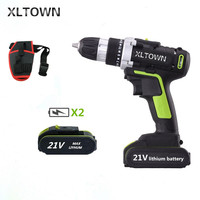 XLTOWN 21V electric screwdriver rechargeable lithium battery cordless drill with 2battery power tool Multi function hand drill