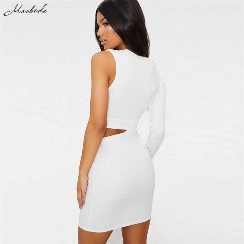 a29557e8264 ... Macheda Black White Cut Out Dress Women V-Neck One Side Long Sleeve  High Waist