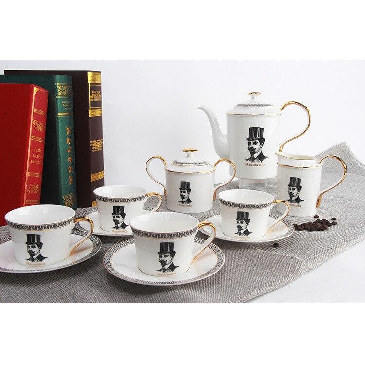 Service à café en céramique de porcelaine osseuse théière costume tasse et soucoupe Gentleman Trace un Design en bord d'or après-midi salon de thé