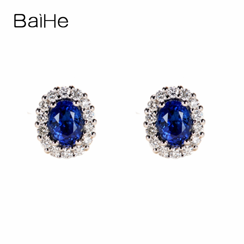 BAIHE Solid 14K White Gold 1.2ct (Total) Round Cut 100% Genuine Natural Sapphires Wedding Trendy Fine Jewelry Stud Earrings