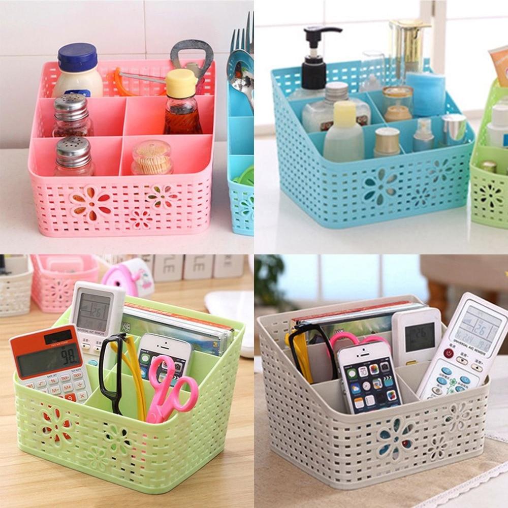 5 Grid Desktop Organizer Storage Box Cosmetic Makeup Organizer Baskets Remote Control Holder 4 Colors