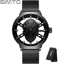 купить GIMTO Steel Mesh Quartz Waterproof Watches Mens Top Luxury Brand Male Sport Watch Men Dress Wristwatch Clock Relogio Masculino дешево