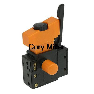 5E4 AC 250V 4A Speed Control Lock On Trigger Switch SPST for Electric Drill home electric fan part rotation button 4p spst speed control switch