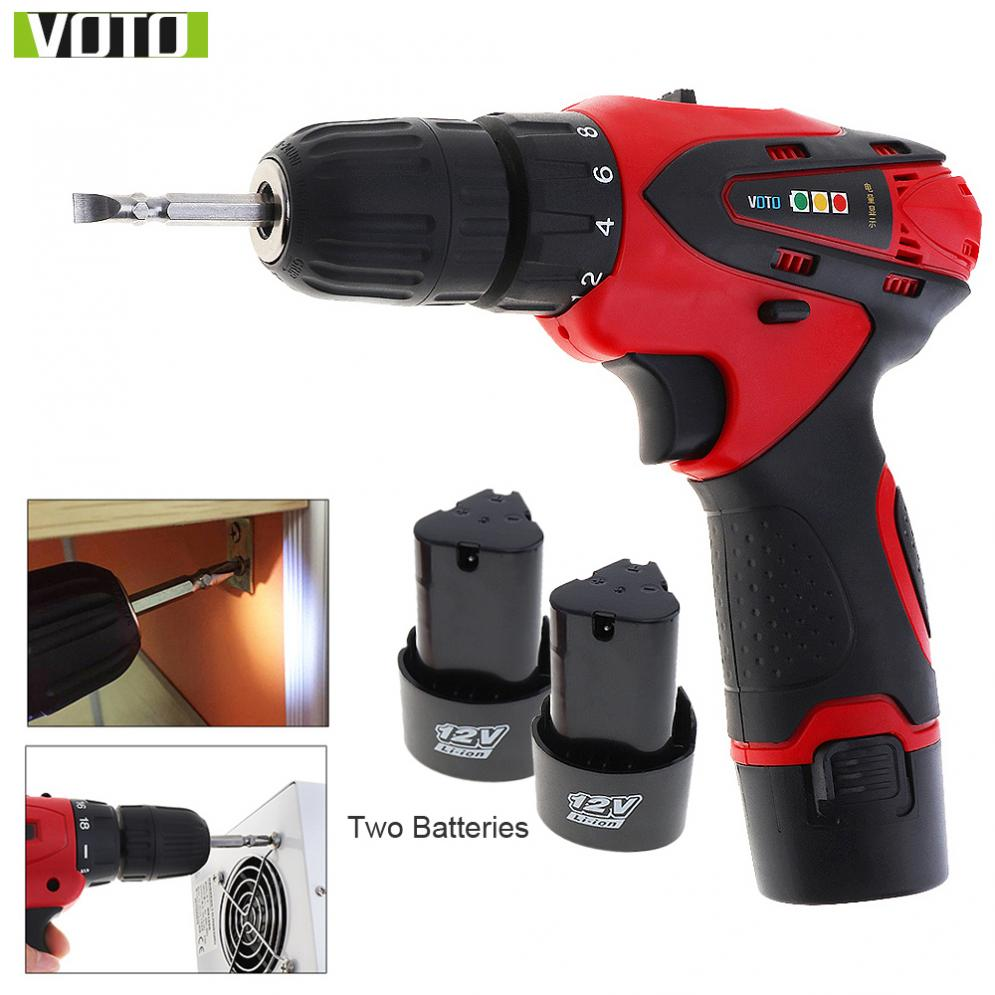 VOTO AC 100 - 240V Cordless 12V Electric Screwdriver / Drill with 2 Lithium Batteries and Two-speed Adjustment Button
