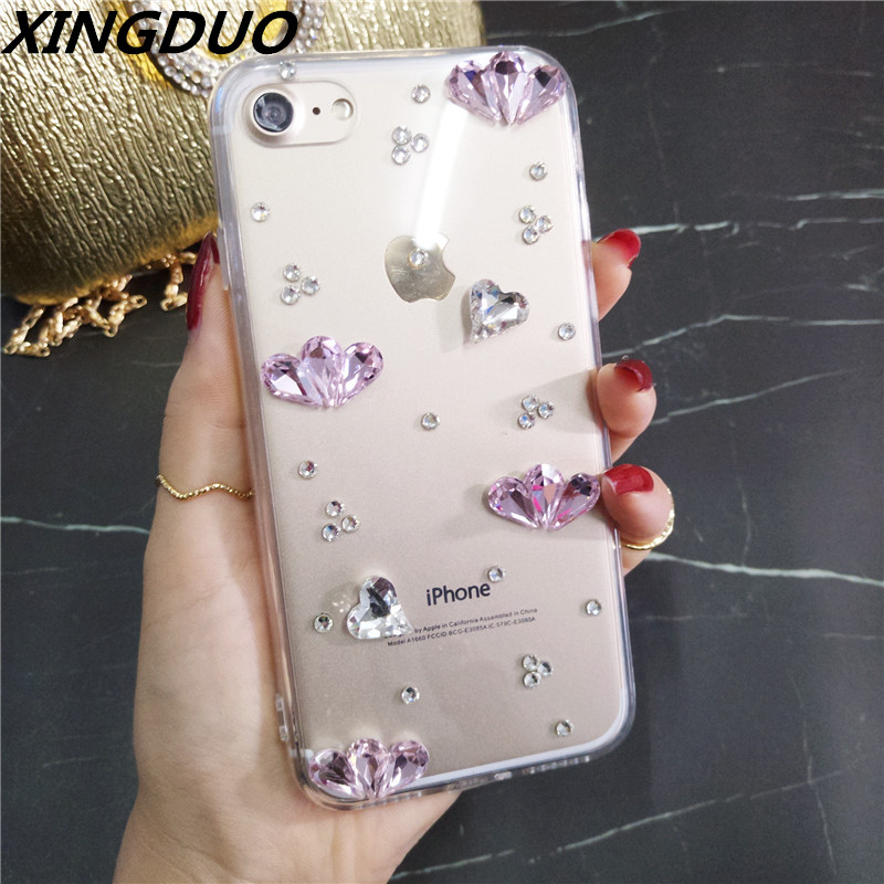XINGDUO phone case for iphone6 7 8 X XS XR 6s MAX Transparent soft back shell Glitter love Diamond crystal fashion cover