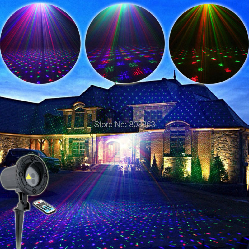 Outdoor Waterproof RGB Laser Full Stars Sky Patterns Projector Remote Holiday House Tree Wall Garden Landscape Effect Light T59 12v 50w colored rgb outdoor lights 110v wall projector flood light garden waterproof landscape lamp remote control by dhl 6pcs