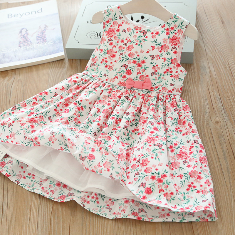 Spring Summer Floral Butterfly Girl Vest Dress Children Baby Girl Clothes