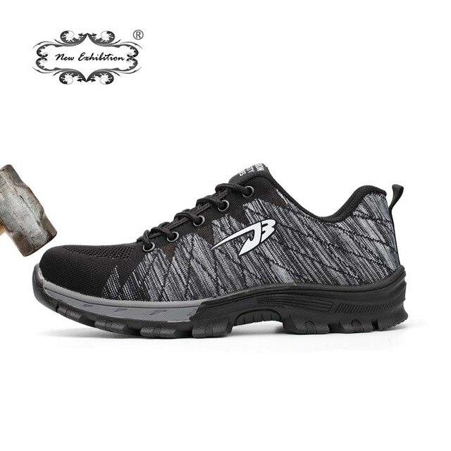 Yeni sergi Moda güvenlik ayakkabıları nefes sinek hattı Nedensel sneaker anti-smashing delinme erkek Çalışma Koruyucu ayakkabı sapatos