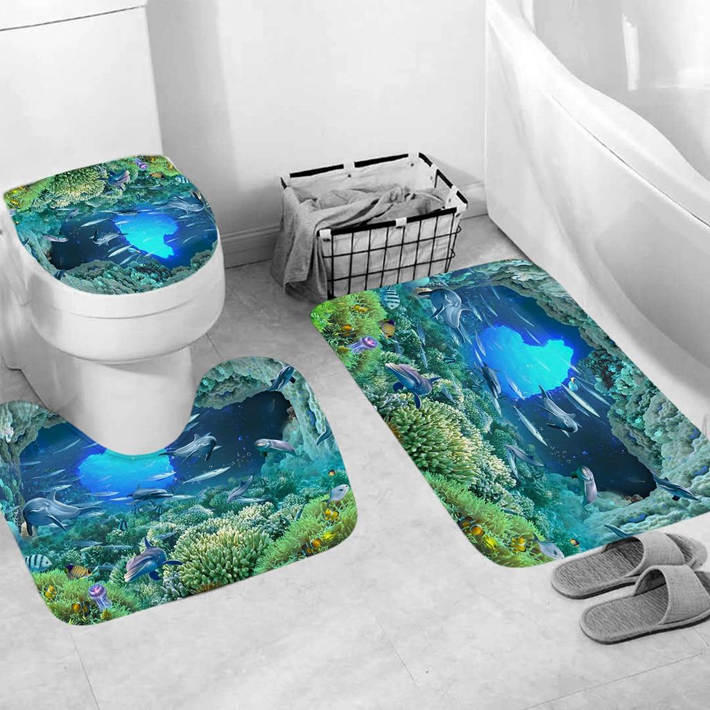 3PCS Marble Print Non-Slip Pedestal Rug Toilet Seat Cover Bathmat Doormat Rug