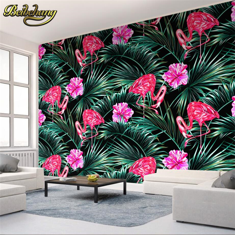 Beibehang Tropical Flamants Roses Photo Papier Peint Tv Toile De