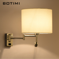 BOTIMI LED Bedside Wall Lamp For Living Room Applique Murale Luminaire Wall Sconce For Bedroom Modern Hotel Project Lighting