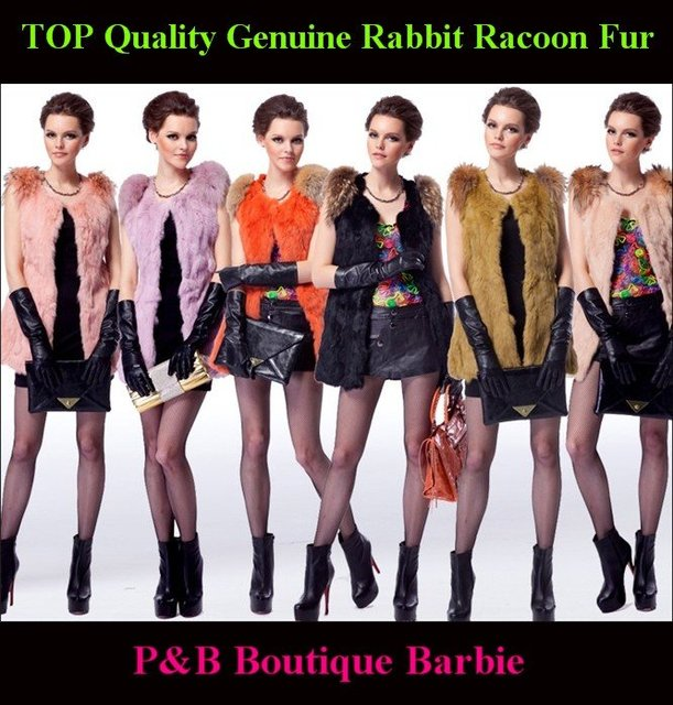 Hot Sale Genuine Rabbit + Racoon  Fur Hoodies Gilet ~ Fur Vest ~ DROP SHIPPING + Free Shipping BY DHL EMS