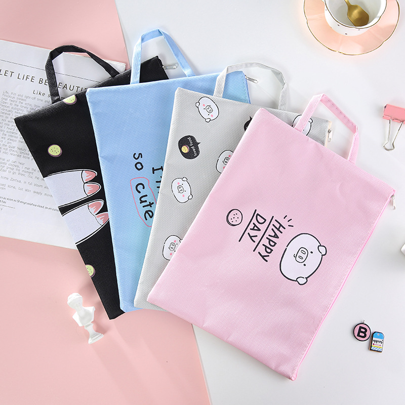 Coloffice Korean Small Fresh Filling Product Tutorial Bag Simple Portable Student With Zipper Book Bag A4 File Storage Bag 1PC