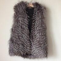 Free Shipping New Genuine Real Fur Silver Fox Fur Vest With Hood Natural Fox Fur Coats Jacket Waistcoat Big Size TP171