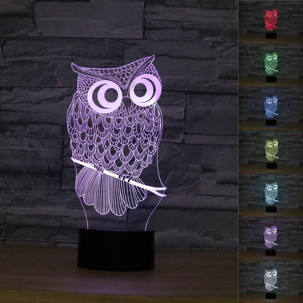Night owl reading lamps - 3d Effect Cute Owl Lamp Kawaii Night Light Colorful Illusion Acrylic Touch Lamp Bedside Sleeping Lamp