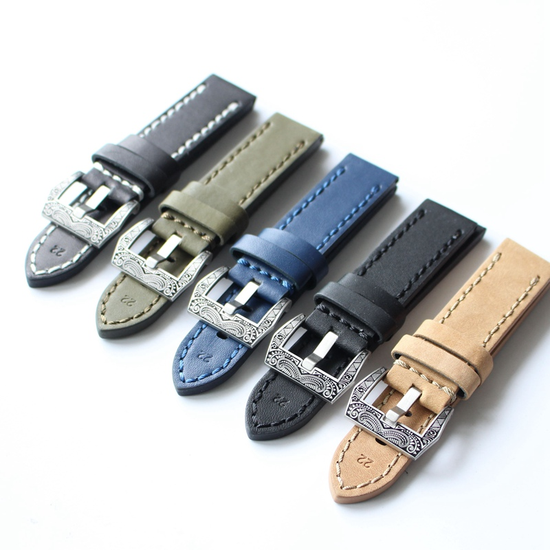 Genuine Leather Watchbands Men Women Italy Watch Band Strap for Panerai Belt Stainless Steel Carved Buckle 20 22 24 26mm relogio zlimsn men s watch band for panerai 20 22 24 26mm black brown watchband stainless steel buckle wrist belt genuine leather