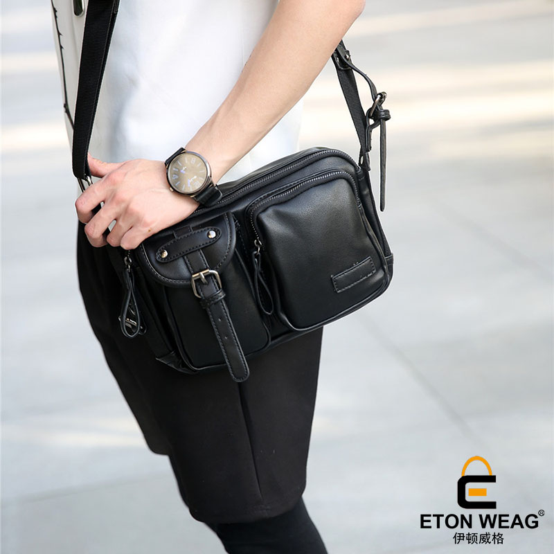 ETONWEAG Brands Cow Leather Messenger Bags For Women 2018 Black Zipper Vintage Crossbody Shoulder Bag Pockets Shaped Woman Bag icev new brands simple cow leather crossbody bags for women messenger bags high quality ladies bag made of genuine leather bags