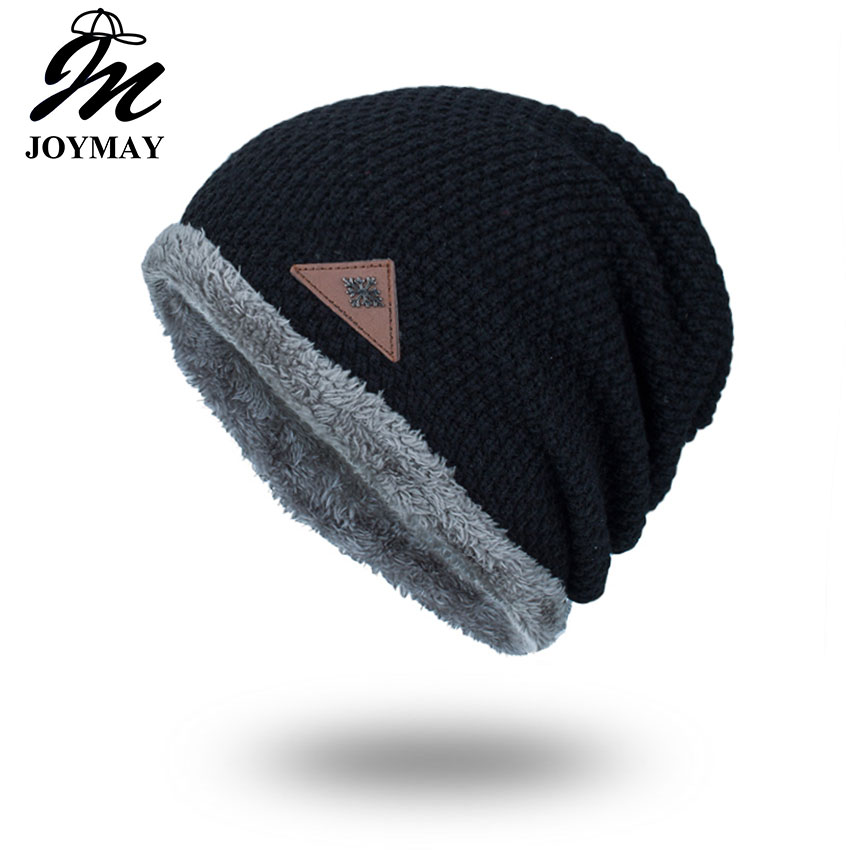 Joymay 2017 Winter Beanies Solid Color Hat Unisex Plain Warm Soft Skull Knitting Cap Hats Touca Gorro Caps For Men Women WM065 new winter beanies solid color hat unisex warm grid outdoor beanie knitted cap hats knitted gorro caps for men women