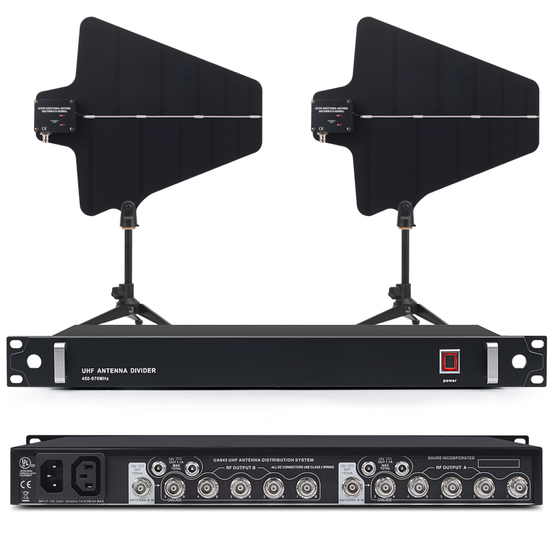 Meilleur UA845 Antenne Active Splitter Collecteur 470-952 mhz UHF Sans Fil Système Antenne Puissance Distribution Amp Sans Fil Microfon