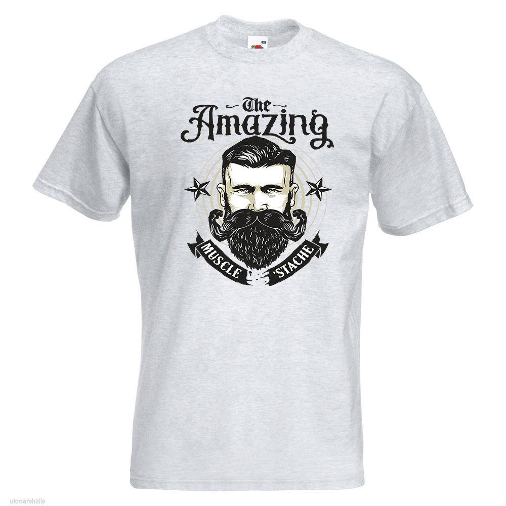 Потрясающая Мужская футболка с принтом мышечных усов Movember борода забавная