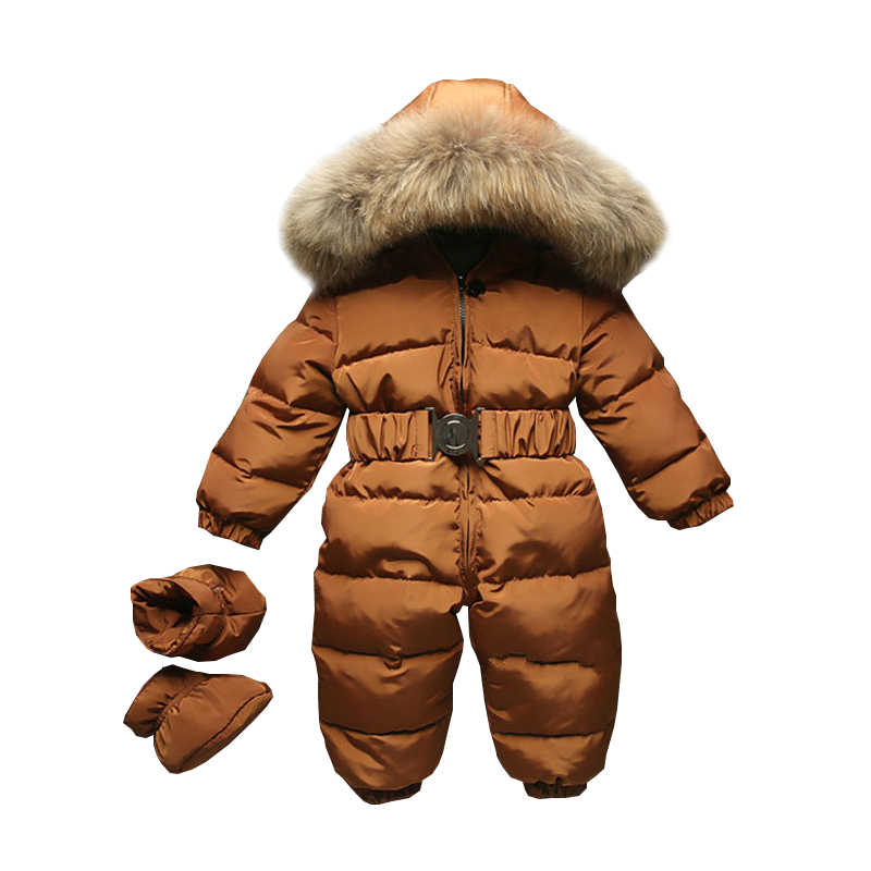 2019 Winter Baby   Romper   onesie Coat Infant Children Snowsuit Outerwear Newborn Girl Boys Jumpsuit Snow Wear Overalls Fur Hood