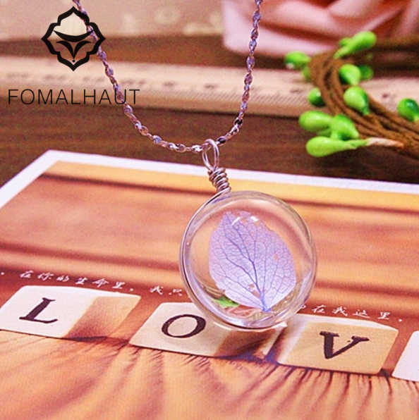 FOMALHAUT Hydrangea Flower Jewelry Crystal Glass Ball Necklace Long Strip Leather Chain Pendant Necklaces For Women XX-43