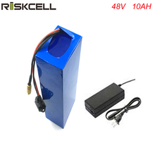 цена на high quality LI-ION battery 48V 10AH Li-Ion Rechargeable Battery Pack with charger and bms