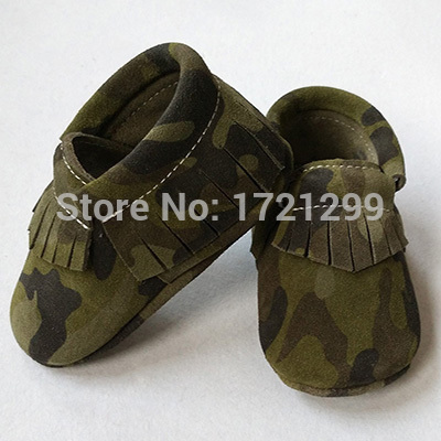 02319123d New army green fringe baby moccasins,camouflage baby tassel moccs prewalker  booties,genuine leather soft sole SUEDE shoes